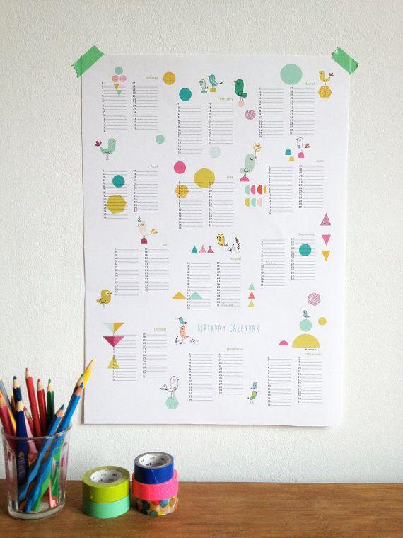 Perpetual Calendar Birthday Calendar Poster Size By Mademoiselleyo · Geometrische  FormEwiger ...