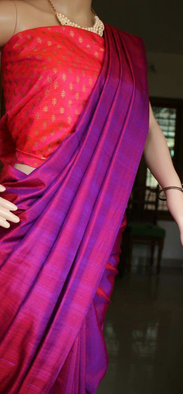 14f92355bc Soft silk saree with printed soft silk blouse.. Saree is double shaded..  deep purple with dark red Soft, light weight and non transparent.. very  rich look ...
