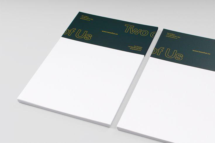 Headed paper for British brand identity design studio Two of Us