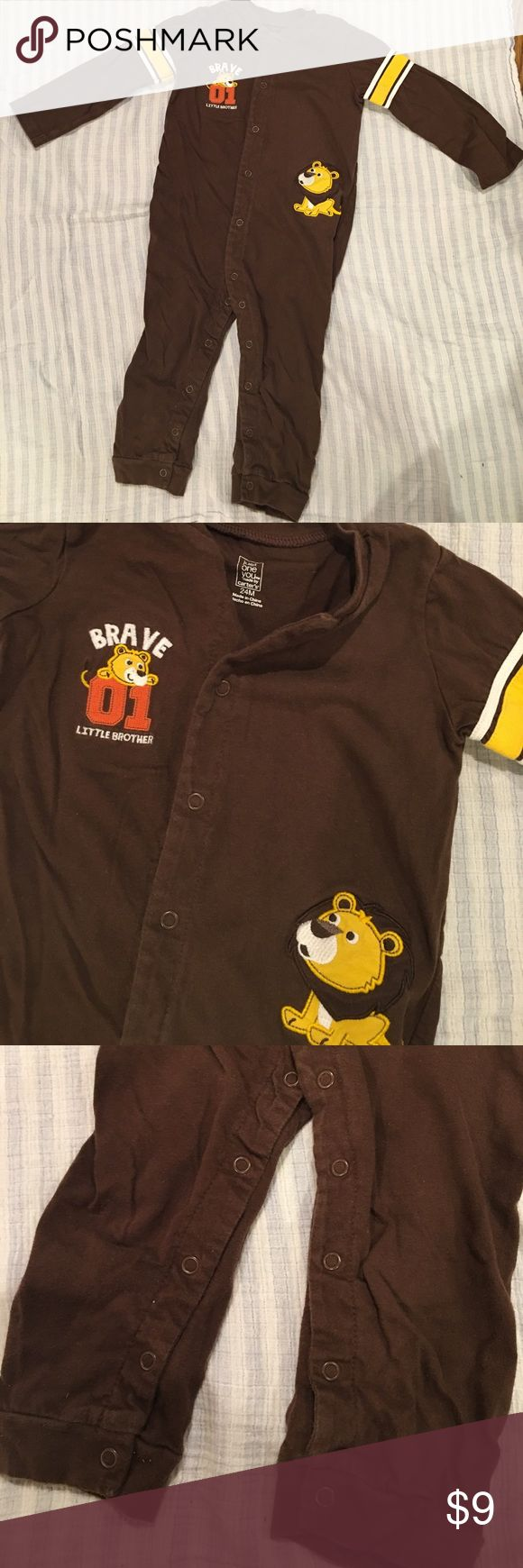 """Carter's little brother brown one-piece 24 months Long sleeve brown one piece says """"brace little brother"""". Snaps up the front, cotton, gently used. Just One You by Carter's 24 months Carter's One Pieces"""