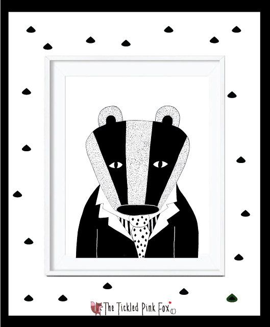 Black and white Badger with tie by thetickledpinkfox on Etsy