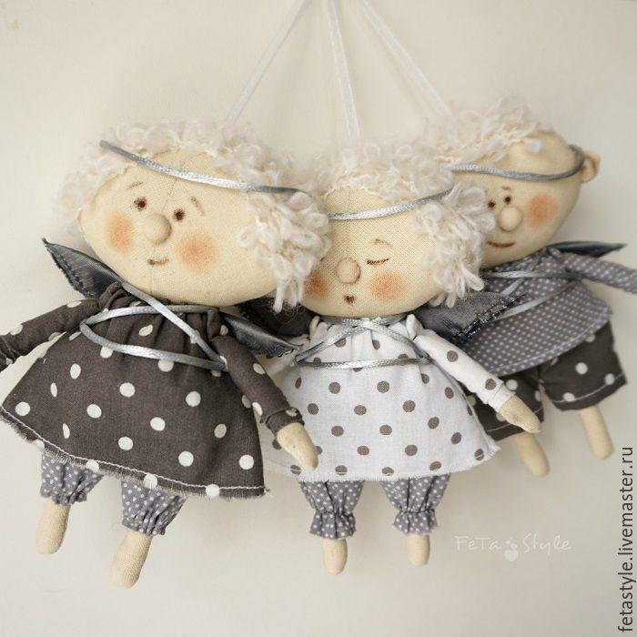 Купить Ангелы Серебряные Куклы-подвески Текстильные Игрушки на Елку - ангел, ангелочки, рождественский ангел