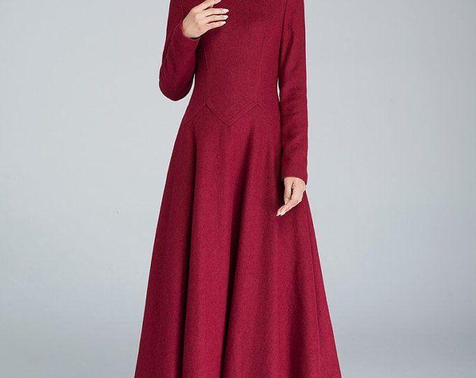 cocktail dress maxi wool dress burgundy wool dress Linennaive maxi winter dress blue dress party dress wool winter dress