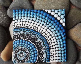 """Punto de auténtico arte aborigen australiano, agua, pintura, Biripi artista Raechel Saunders, pintura acrílica sobre tablero de lona de 4 """"x 4"""""""