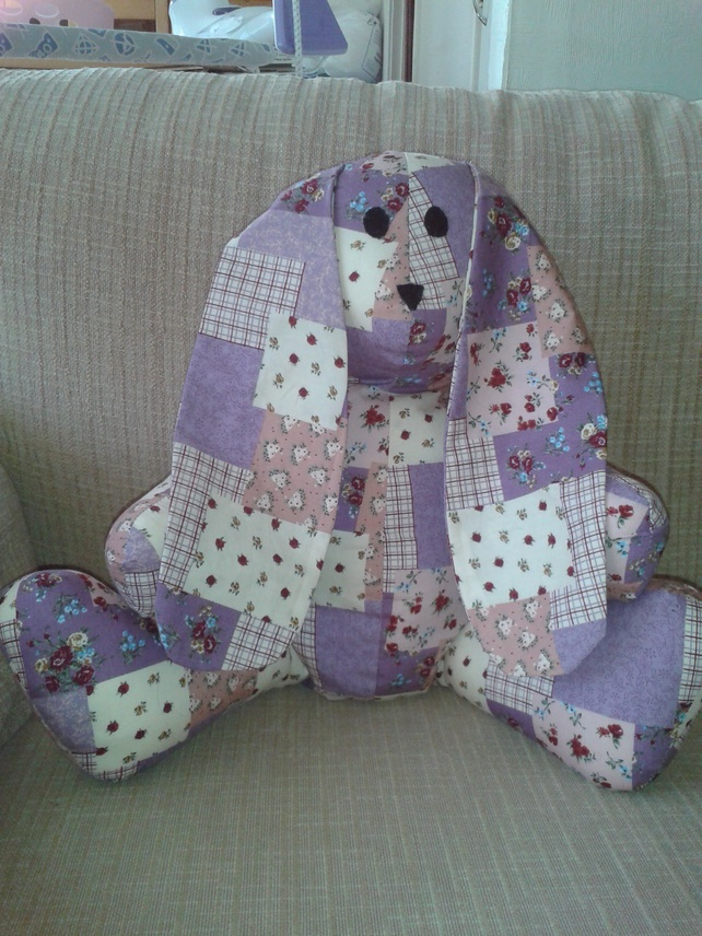 Purple Long Earred Rabbit Handmade from pre-printed patchwork cotton fabric £15.00
