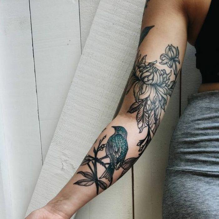 1001 Fantastic Versions Of Peony Tattoo In 2020 Bird Tattoo Sleeves Bird Tattoos Arm Bird And Flower Tattoo