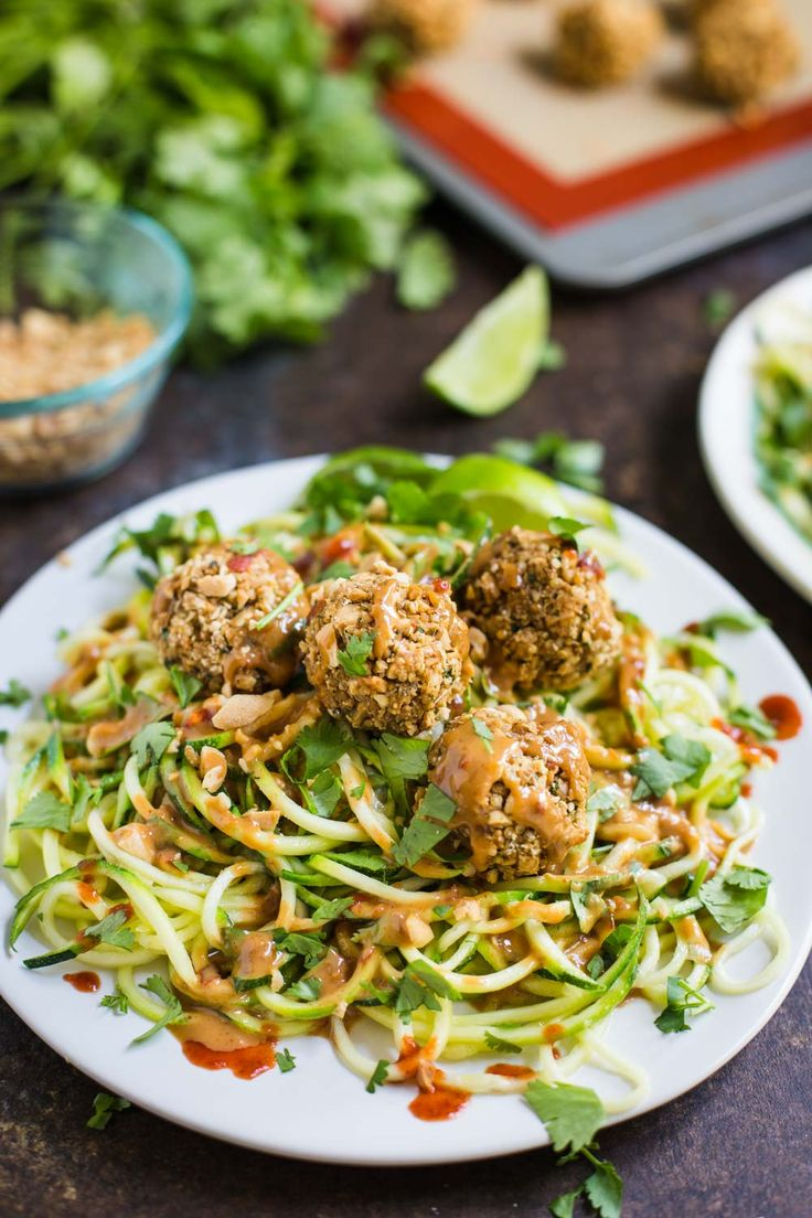 Vegan Thai Quinoa Meatballs with zucchini noodles- this recipe is plant based, gluten-free, and completely delicious!!