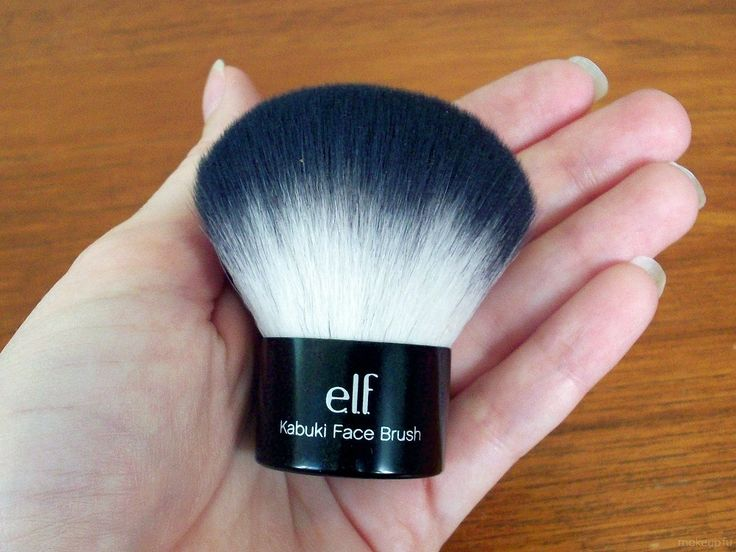 I own this. Seriously go get one!! $6! ELF Kabuki makeup cosmetics brush. You put your liquid foundation make up on with this brush! The makeup  doesn't stick to the brush at all!