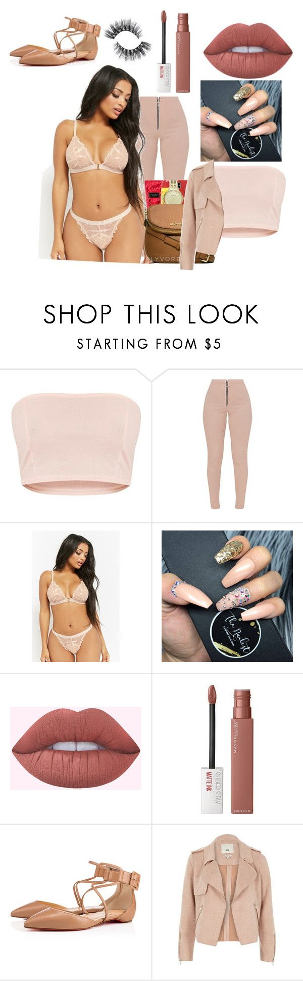 """""""victora secret"""" by diamondinthesky13 ❤ liked on Polyvore featuring Forever 21, Maybelline, Christian Louboutin and River Island"""