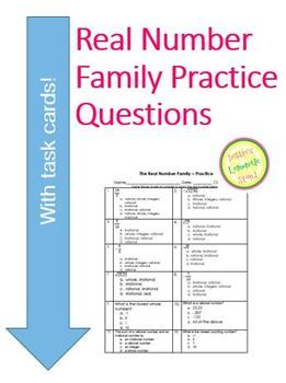 Real Numbers - 25 Practice Questions - worksheet or assess
