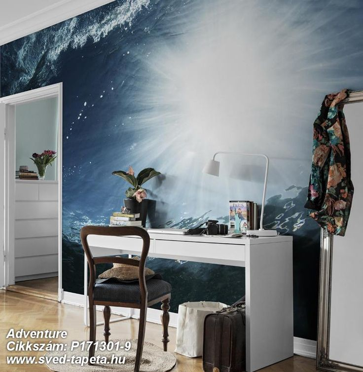 Stunning blue tones from both sea and sky form a beautiful blend in the wallpaper called SURFACE. ☞ #wall #decor #wallpaper #design #tapeta #foto #poster