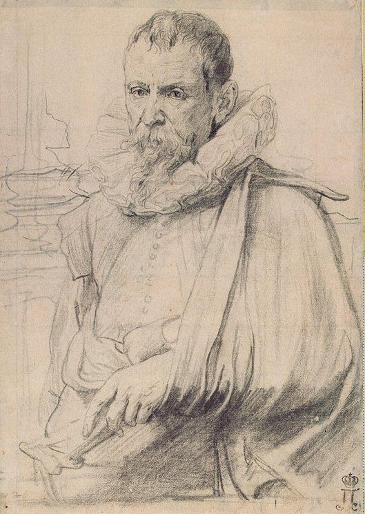 Anthony van Dyck, 1599-1641, Flemish, Portrait of Pieter Bruegel the Younger, c.1636.  Black chalk on paper.  Devonshire Collection, Chatsworth.  Baroque.