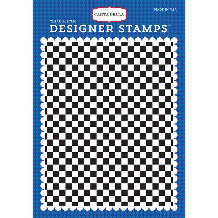 Echo Park Paper Carta Bella Background Stamp A2-Cartopia, Checkered Flag - cartopia, checkered flag, Cartopia/Checkered Flag cartopia/ checkered flag