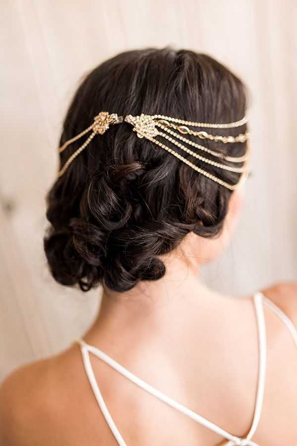 Jeweled Clips and Loose Curls for a Relaxed Bridal Chignon | 1985 Luke Photography and Hey Wedding Lady | http://heyweddinglady.com/styling-low-back-wedding-dress-boho-glam-headpiece-hairstyle-tutorial/