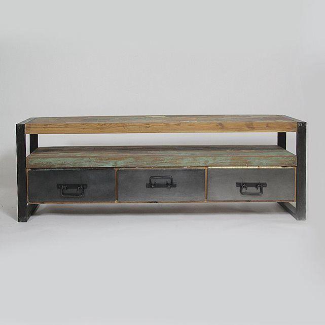 Meuble TV industriel 3 tiroirs bois et métal MOX12