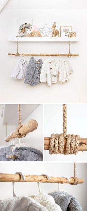 IKEA Hack für Babyzimmer: Das LACK Regal mit einer Stange darunter wird zur süßen Garderobe für die schönsten Babysachen.