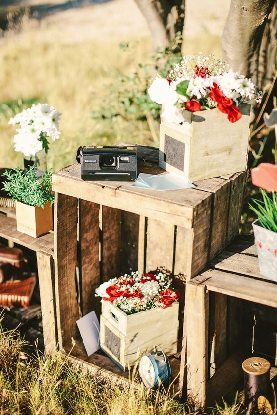 wooden crates as tables to display florals and decor / http://www.deerpearlflowers.com/country-wooden-crates-wedding-ideas/