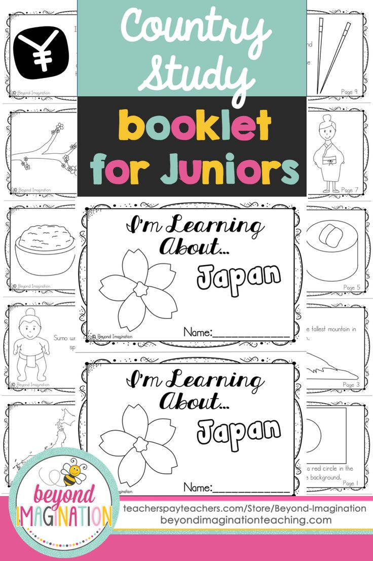 Japan country study booklet for juniors by Beyond Imagination. This booklet includes information on: -Japanese flag -Map of Japan  -Mt. Fuji  -Sumo wrestling  -Japanese sushi  -Japanese rice -Japanese kimono  -Sakura tree (cherry tree)  -Chopsticks -Japanese currency  -Japanese sayings. Perfect for teaching young ones fun facts about Japan for a social studies lesson.