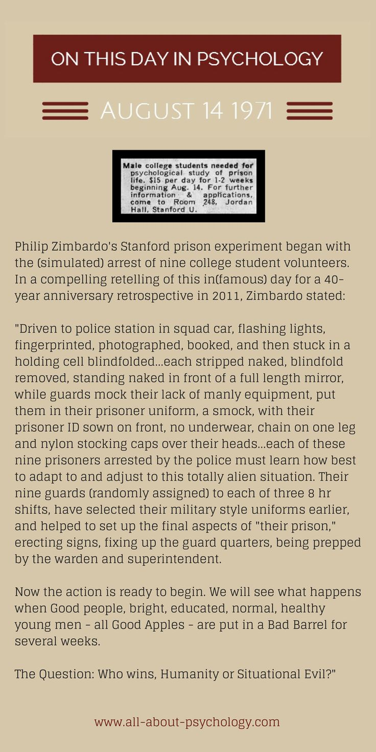 14th August 1971. Philip Zimbardo's in(famous) Stanford prison experiment began with the (simulated) arrest of nine college student volunteers. #psychology #PhilipZimbardo #StanfordPrisonExperiment