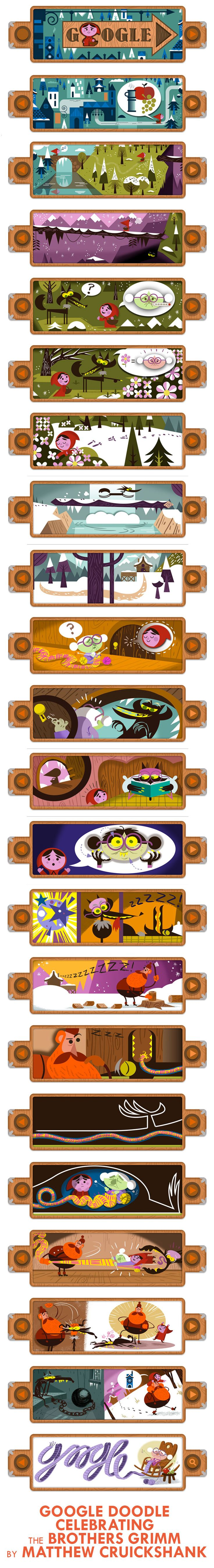 Google Doodle by Matthew Cruickshank celebrating 200th Anniversary of Grimm's Fairy Tales through Little Red Riding Hood - December 20, 2012