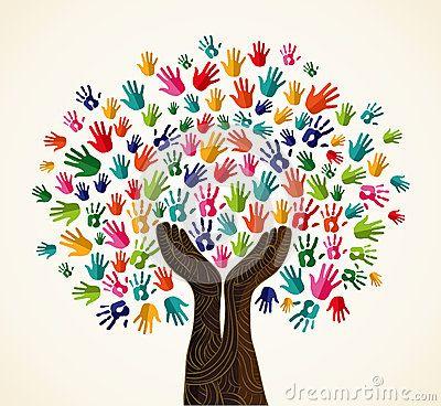 Arbre coloré de conception de solidarité