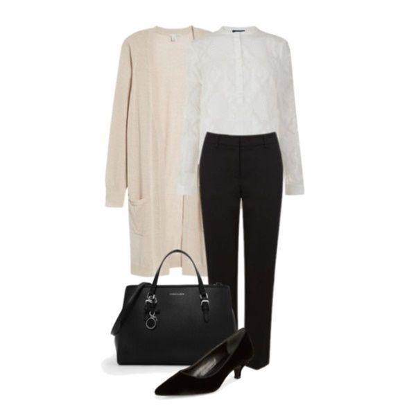 White blouse+black trousers+black pumps+black tote bag+blush long cardigan. Spri…