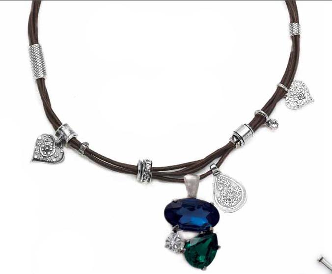 Elegant Swarovski Crystal and Royal Blue enhancer (EN879) pictured on our eclectic brown leather necklace (N1310).