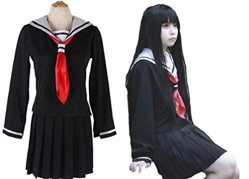 SSJ: Japanese Anime Jigoku Shoujo Sailor Dress Hell Girl Enma Ai Cosplay Costumes (ASIA-M) #Sailor Halloween Costumes