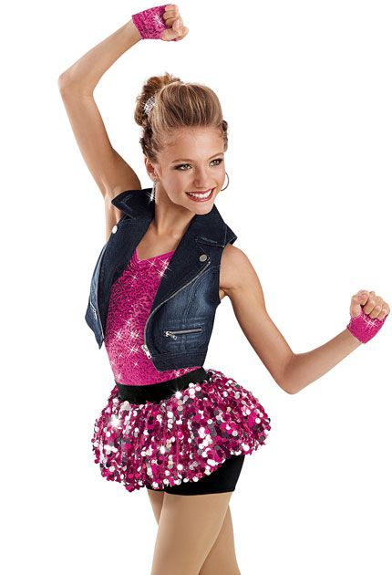 This is a very cute jazz hip hop outfit it has a blue jean jackets a glitter skirt and a glitter shirt with braclets