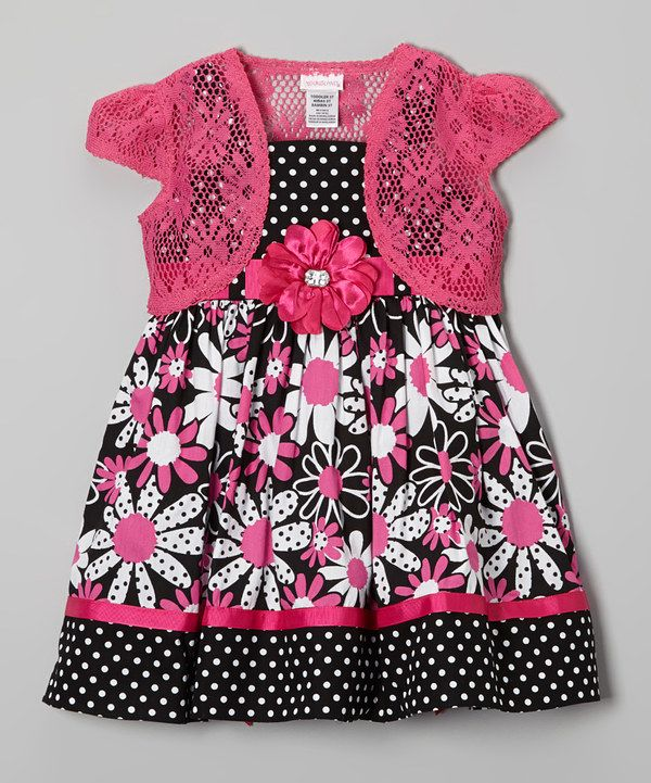 Look at this Black & Pink Floral Dress & Shrug - Girls on #zulily today!