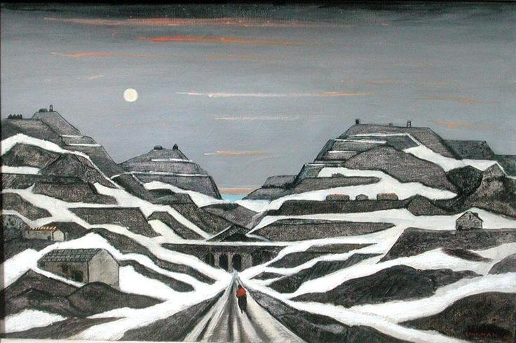 Fred Uhlman (1901 - 1985) - Welsh Slate Mines in Snow. 1959.