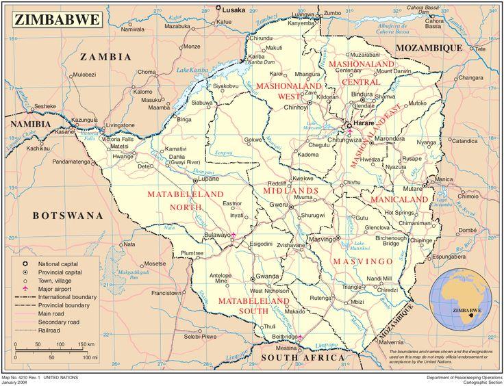 simbabwe karte auf Simbabwe Reiseführer