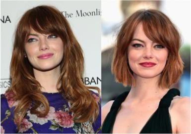 Emma Stone with long hair (left) and short hair (right)