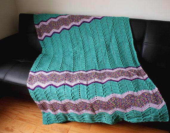 Sea Foam and Purple Afghan LongMulti Color Handmade Throw