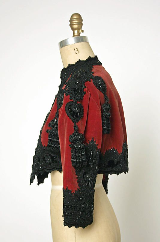 Jacket (Bolero), Evening.  House of Balenciaga  (French, founded 1937).  Designer: Cristobal Balenciaga (Spanish, 1895–1972). Date: fall/winter 1946–47. Culture: French. Medium: silk, cotton, wool, beading. Dimensions: Length at CB: 14 3/4 in. (37.5 cm).