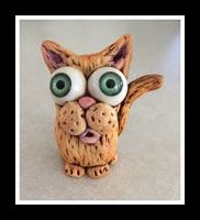 Big Eyed Cat made with Makin's Clay by Lisa Haney