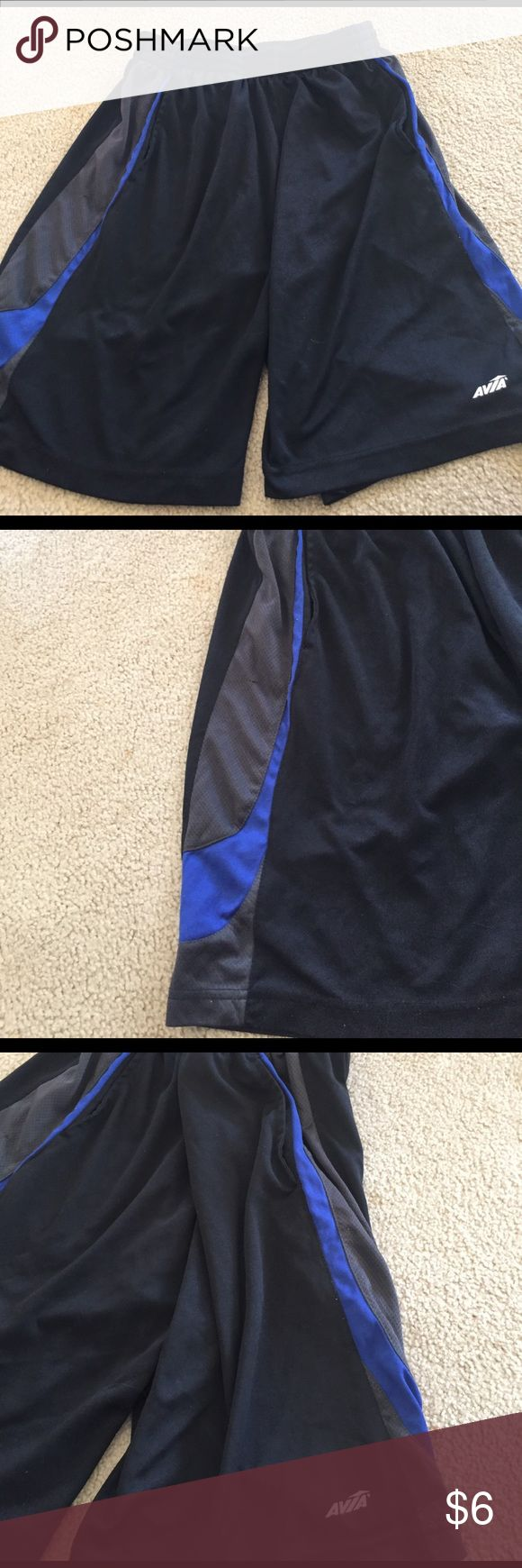Men's Avia brand workout shorts Gently used-men's workout shorts-blue gray and black colored Avia Shorts Athletic