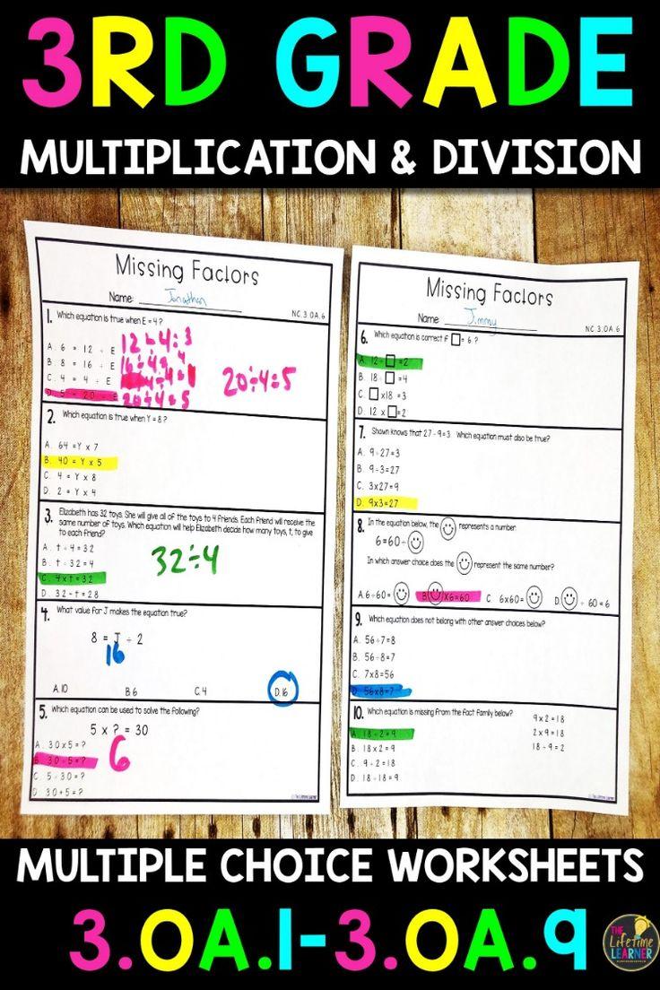 Multiplication and Division Worksheets 3rd Grade Math