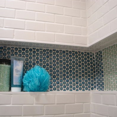 Mid Century Bathroom Penny Round Tiles And Wall Niches On