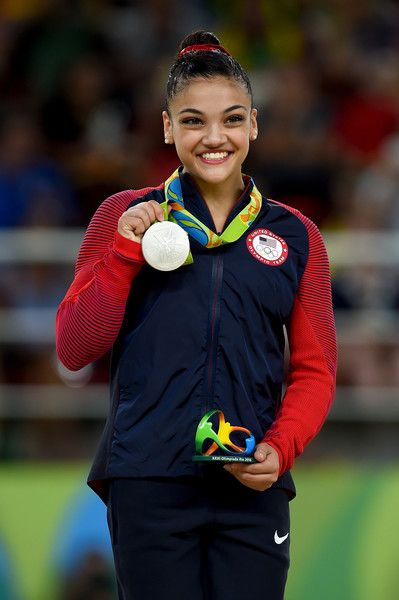 Lauren Hernandez Photos - Silver medalist Lauren Hernandez of the United States celeberates on the podium at the medal ceremony for the Balance Beam on day 10 of the Rio 2016 Olympic Games at Rio Olympic Arena on August 15, 2016 in Rio de Janeiro, Brazil. - Gymnastics - Artistic - Olympics: Day 10