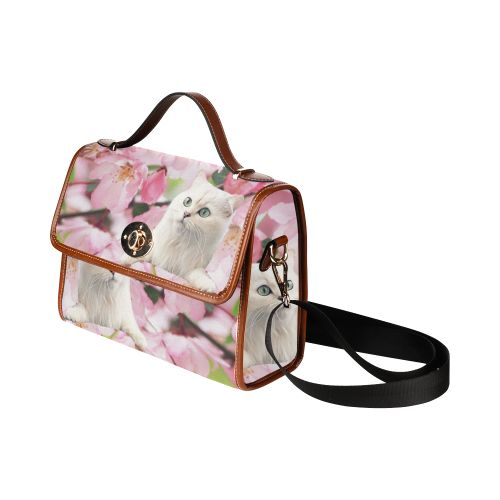 Cat and Flowers Waterproof Canvas Bag/All Over Print. FREE Shipping. #artsadd #bags #cats