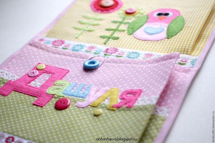 """Купить Кармашки для детского сада """"Совиные"""", кармашки для мелочей - розовый, кармашки детские, детские кармашки"""