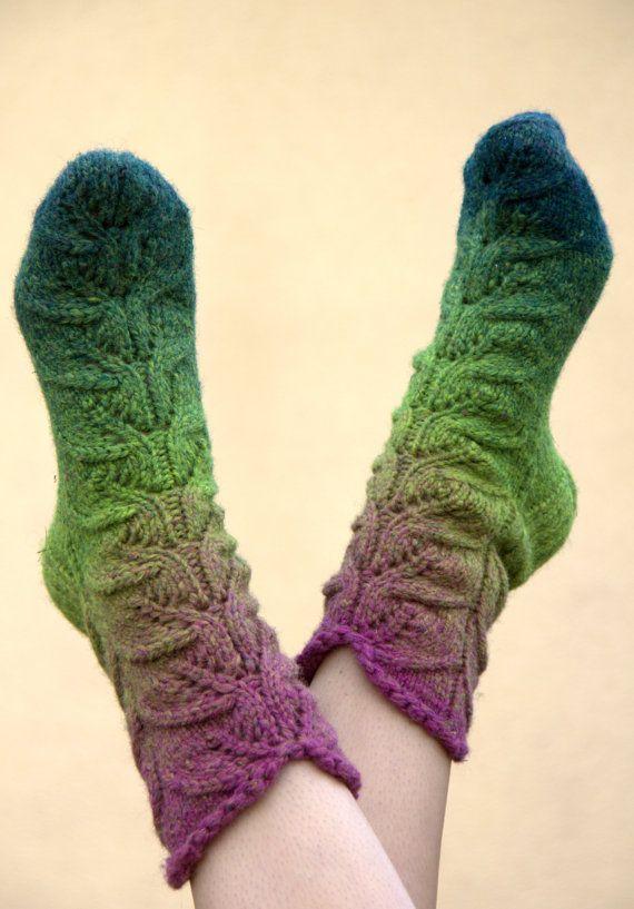 Warm socks natural wool in toned lavander color by SandrasMagic, $30.00