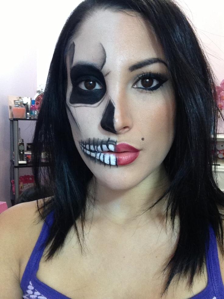 Half Skull Half Sexy Pin Up Girl Makeup Tutorial YouTube