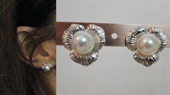 Kate Middleton Pearl Flower Earrings Silver by tudorshoppe on Etsy, $18.00