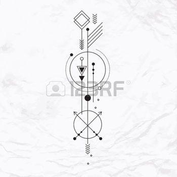 tatouage simple: Signe mystique abstrait avec des formes géométriques, des triangles, des chevrons, des flèches, des cercles, des points et des autres symboles, les planètes chemins. Vector illustration linéaire de l'artisanat de la magie. Moderne et élégant art du tatouage,, simple Illustration