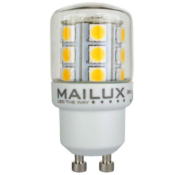 Der MAILUX GU10 Kolben 2,6 Watt 260 Lumen warmweiß Ein praktischer LED Kolben mit 360° Abstrahlung. Für alle, die sich viel Licht für wenig Geld wünschen. Das Leuchtmittel bietet 360° gleichmäßige Abstrahlung und warmweißes Licht. Eine Alternative für fast jede Glühbirne bzw. Kerze. Mit Glaskörper als Schutz gegen Dreck und Feuchtigkeit. Passend auf GU10-Sockel. http://www.leddiscount.de/led-leuchtmittel/gu10/202/mailux-gu10-kolben-2-6-watt-260-lumen-warmweiss?c=35