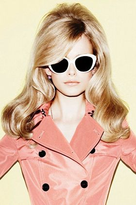 Long, Bardot-esque waves, 10 Retro Hairstyles That Are Hot Right Now: 60S Styles, Big Hairs, Pink Coats, Blonde, Cats Eyes, Retro Hairs, Glasses, 60S Hairs, Trench Coats