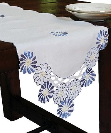 Look what I found on #zulily! Blue Cutwork Embroidered Flower Table Runner #zulilyfinds