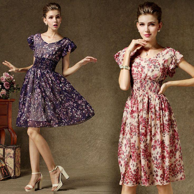 Summer Fashion Womens Short Sleeve V-Neck Elegance Chiffon Floral Long Dress #Kalawa #BallGown #Casual